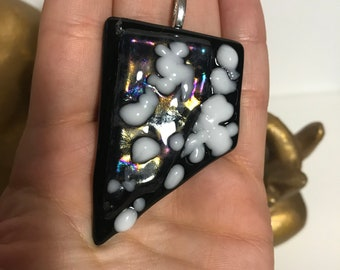 Funky Black and White Fused Glass Pendant