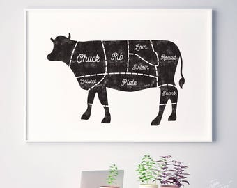 Cow, rustic kitchen art decor, kitchen printable, kitchen prints, kitchen decor, butcher chart, beef, meat cuts, butcher print