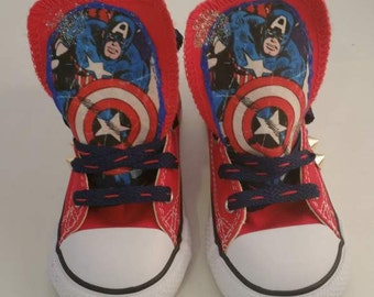 Captain America Converse Shoes/ Customized Chuck Taylors