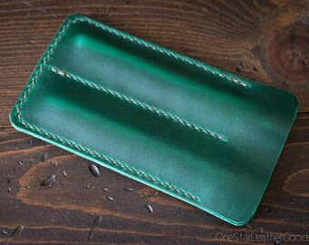 Double Pen Sleeve, Horween Chromexcel leather - green