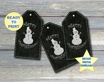 "Snowman Chalkboard Tags ~ Printable Set of 6 ~ ""Merry Christmas"" ~ 4 Digital Files ~ Large 2.65X5"" Gift Labels Black White ~ JPG, PDF, PNGs"