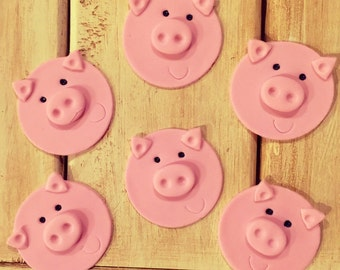 Pig Face Fondant Cupcake Toppers (12)