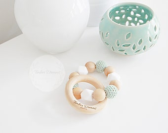 Crochet Mint, White & Wooden Beaded  baby teether, teething ring, teething toy, silicone teether, baby gift, baby shower gift, modern baby