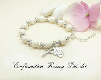 Confirmation Rosary Bracelet Confirmation Bracelet or Godmother gift, sponsor gift, Mother's bracelet, RCIA, Catholic bracelet Swarovski
