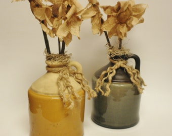 Primitive Flowers in Pottery Jug, Handmade Fabric Flowers, Primitive Spring Decor, Country Farmhouse Decor, Floral Arrangements