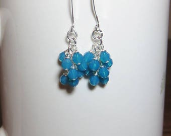 Opal Blue Earrings, Crystal Earrings, Cluster Earrings, Cute Dainty Earrings, Birthday Gift for Her, Mom Gift, Friend Gift, Mothers Day Gift