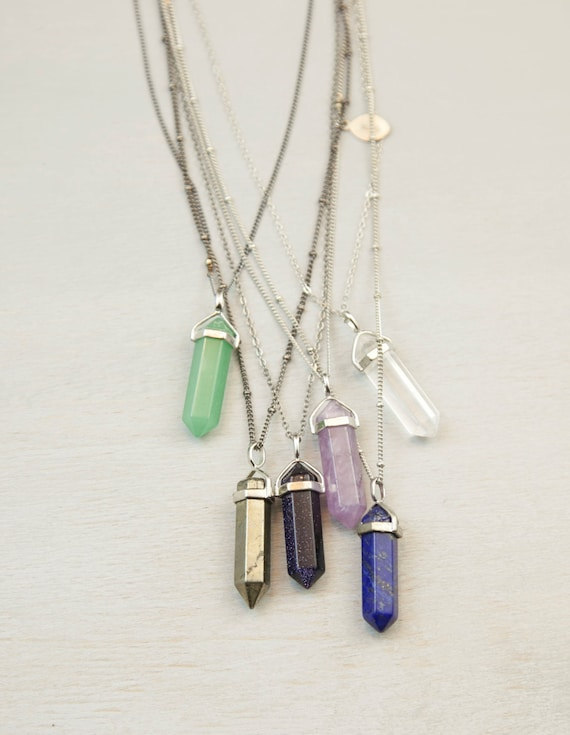 necklace green real shape quartz for natural item pendants jewelry turquoise amethyst female stone bullet pendant necklaces from in crystal