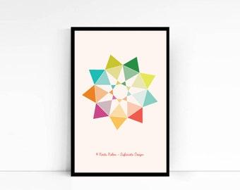 DOWNLOADABLE NINE Pointed STAR / Geometric Design Print / Baha'i Symbol Print / Nursery Print / Home Decor /