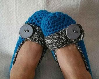 Crochet Slippers Womens Flats Aqua Salt and Pepper Trim