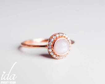 Opal Engagement Ring - Opal Ring - Halo Engagement Ring - Opal Jewelry - 14K Gold Ring - Dainty Gold Ring - Anniversary Gifts For Women