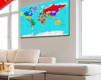 Large push pin map, Push Pin Travel Map, World Map, World Map Canvas, World Map Poster, World map on canvas, Push Pin Map, Canvas