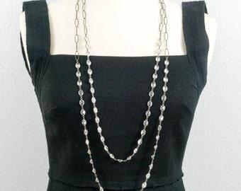 Cubic Zirconia Double Necklace - Oxidized Silver - Bezel Chain - Long Necklace - Layering Necklace - Minimalist Jewelry - Designer Jewelry
