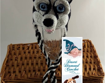 Crochet Pattern 083 - Siberian Husky Beanie Hat 2 - All Sizes