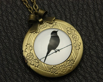 Black bird Necklace, Black bird locket, 2020m