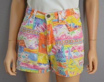 90s High Waisted Shorts Printed Shorts Pink Yellow and Orange 90s Clothing Summer Shorts Epsteam