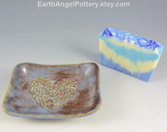Ceramic Soap Dish ~ Blue Soap Dish Pottery ~ Heart Texture Soap Dish ~ Handmade Soap Dish ~ In Stock