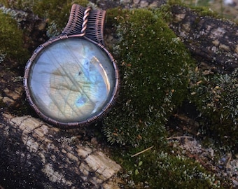 Copper Wire Wrapped Labradorite Pendant for New Beginnings