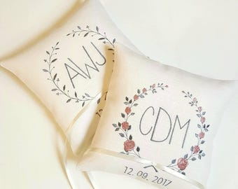 Ring bearer pillow wedding ring  pillow wedding cushion Embroidered ring pillow personalized pillow monogram pillow linen wedding pillow
