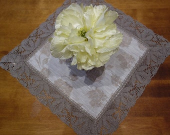 """Free shipping! Linen table cloth """" A big rose and lotus flower lace"""""""