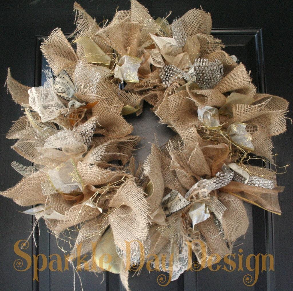 Christmas Wreath Winter Burlap Silver