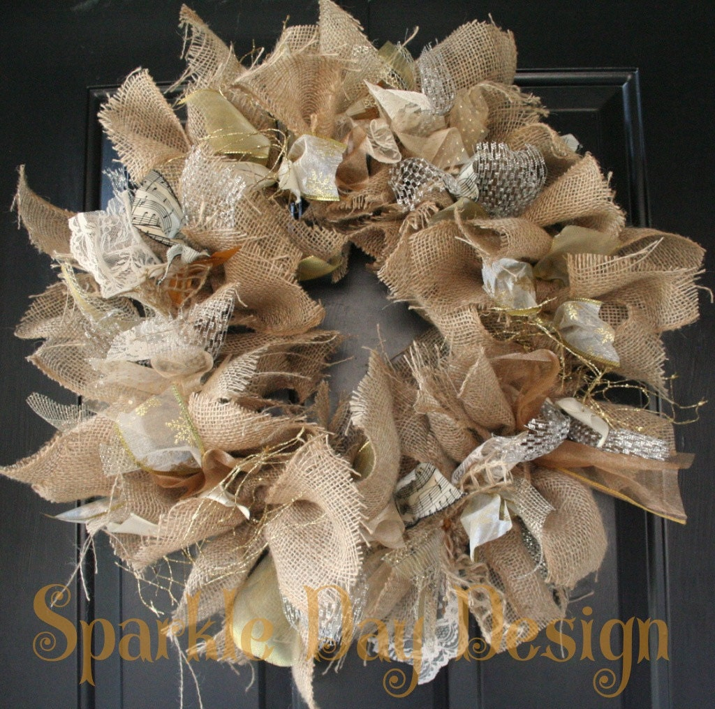 Christmas Wreath Winter Burlap Silver