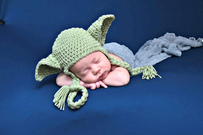 Star Wars bebé sombrero sombrero de Yoda orejeras recién