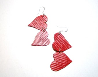 Only today SALE  - 50%  off    Earrings Red Leather Sterling hoops