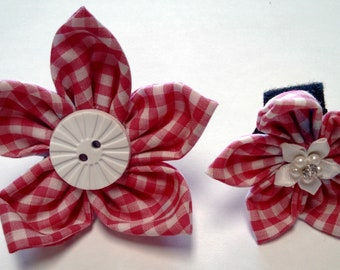 Pink or Purple Gingham - Bow Tie or Flower