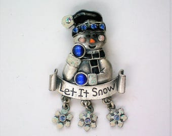 "Signed KC ""Let It Snow"" Snowman for Winter Holidays - 5654"