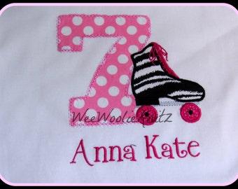 Girls Zebra Print Roller Skate Birthday Shirt Cheetah Personalized First Birthday Any Number Custom Monogrammed  Applique