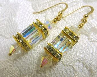 Crystal AB Swarovski Cube Lantern Earrings on 22k Bali Gold Vermeil Wires