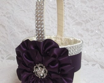Ivory Flower Girl Basket with an Eggplant, Purple Flower and Rhinestone Mesh handle and Trim, Custom Made to Order