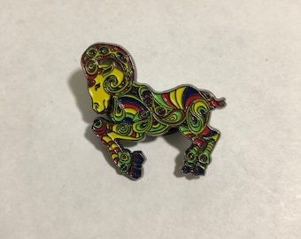 Psychedelic Ram Hat Pin