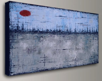 blue grey abstract painting acrylic painting art painting home office decor wall art oil home office decor large canvas made2order Visi