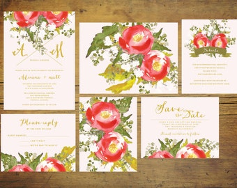 Printable Rosie and Pink Wedding Invitation Set | Wedding Invitation Suite, Watercolor Invitation, Floral, Pink, Red, Invitation