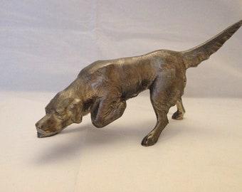 Vintage Cast Aluminum Setter Dog ~ Foundry Mark