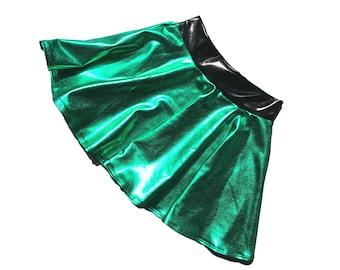Children's Metallic Green Jessie Graff Skater Skirt, Circle Skirt, Costume Skirt - Ninja Warrior