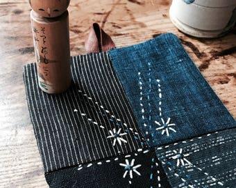 Boro inspired mat with Sashiko details