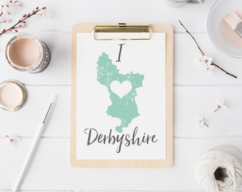 Map of Derbyshire print wall map art - mapping wall art typography map