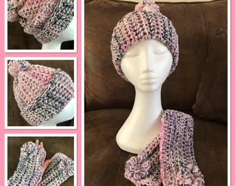 Ladies Hat and finger-less gloves set