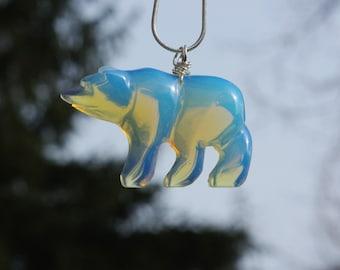 Opalite Polar Bear Necklace ~ Opal Bear Necklace ~ Opal Stone necklace ~ Polar Bear Necklace ~ Winter Gift ~ Birthday Gift ~ Anniversary