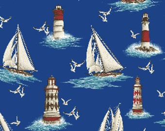 SUPER CLEARANCE!! 3/4 Yard REMNANT By The Sea - Lighthouse Point in Royal Blue - Nautical - Cotton Quilt Fabric - Benartex Fabrics (W1611)