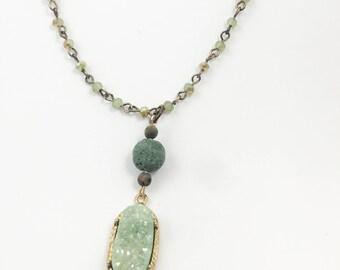 Essential Oil Necklace w/ Lava Stone w/ Essential Oil - Medium Length - Jade Druzy Pendant