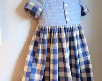 Girls Retro Style Shirtdress for Spring 2018 Ready to Ship in Size 5 or by Custom Order in Girls Sizes 2T through 10