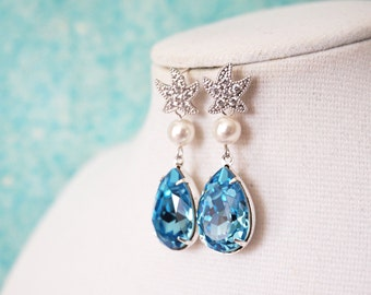 Starfish - Cubic Zirconia Starfish Aquamarine Swarovski Crystal Teardrop Earrings, gift for her, Bridal Beach Wedding  Bridesmaids E36