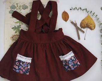 Red linen suspender skirt | Linen suspender skirt | Linen skirt | Red skirt | Toddler suspender skirt | Girls red skirt | Dark red skirt