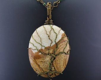 Picture Jasper with Vintage Bronze Tree of Life