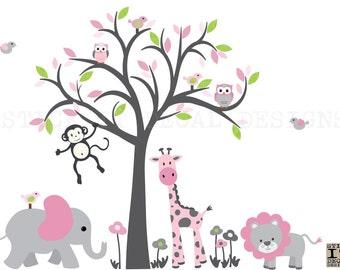 Girl Room Wall Decal, Safari Animal Wall Decal, Girl Nursery Decor, Jungle Animal wall decal, Pretty in Pink Design, Grey Tree