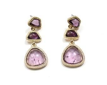 Purple Stone Earrings Violet Cabochon Drop Earrings