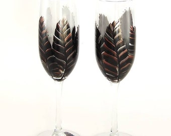 Set of 2 Hand Painted Champagne Flutes - Modern Black and Copper Feathers READY TO SHIP Champagne Glasses Graduation Gifts Retirement Gift